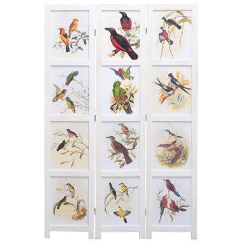 Paravan 3-delni bel 105x165 cm ptice