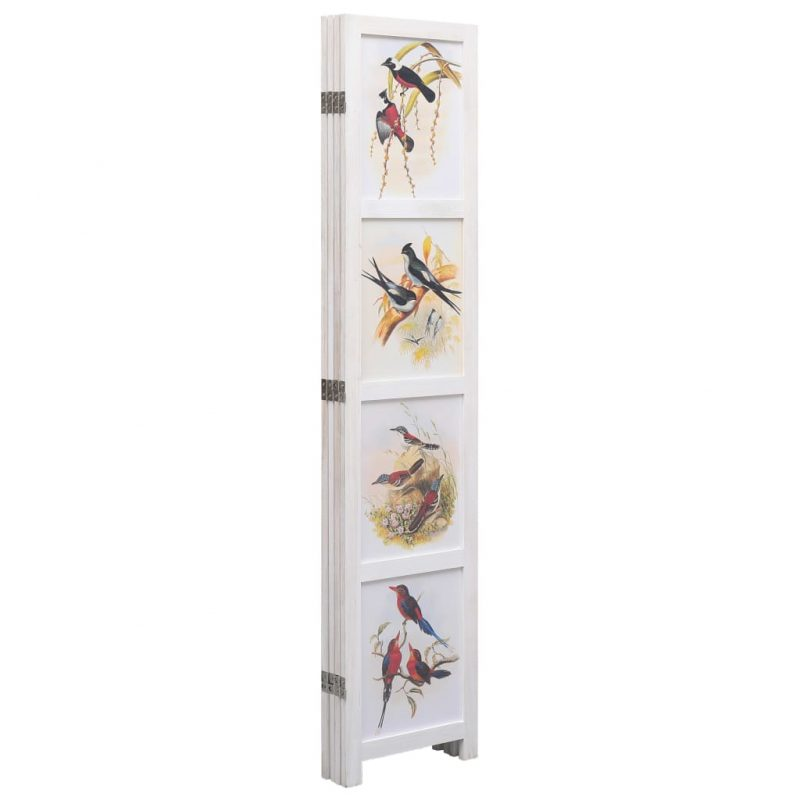 Paravan 4-delni bel 140x165 cm ptice