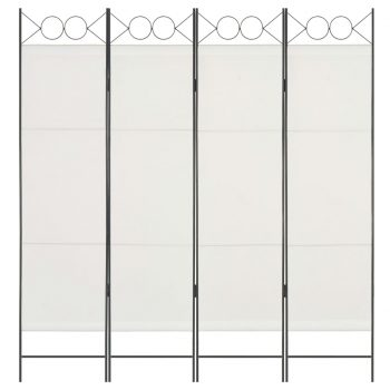 Paravan 4-delni bel 160x180 cm iz blaga
