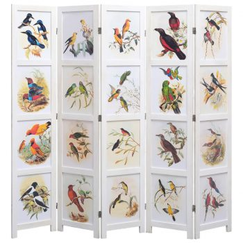 Paravan 5-delni bel 175x165 cm ptice
