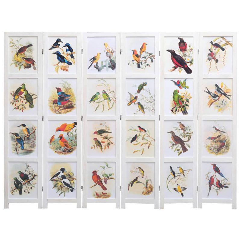 Paravan 6-delni bel 210x165 cm ptice