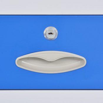Pisarniška omara s 4 vrati kovinska 90x40x180 cm siva in modra