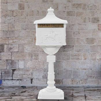 Poštni nabiralnik s podstavkom starinski stil aluminij bel