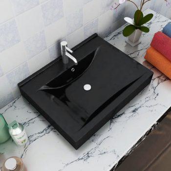 Pravokotni Luksuzni Keramični Umivalnik Črni z Luknjo za Pipo 60 x 46 cm