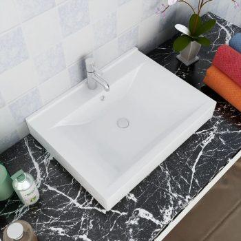 Pravokotni Luksuzni Keramični Umivalnik Beli z Luknjo za Pipo 60 x 46 cm