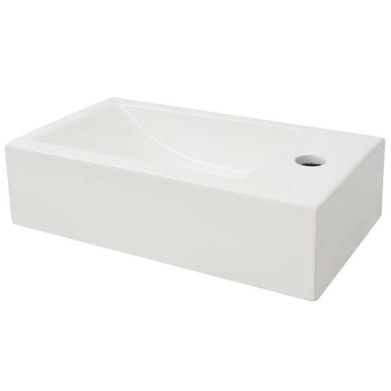 Pravokotni umivalnik keramika bele barve 46x25