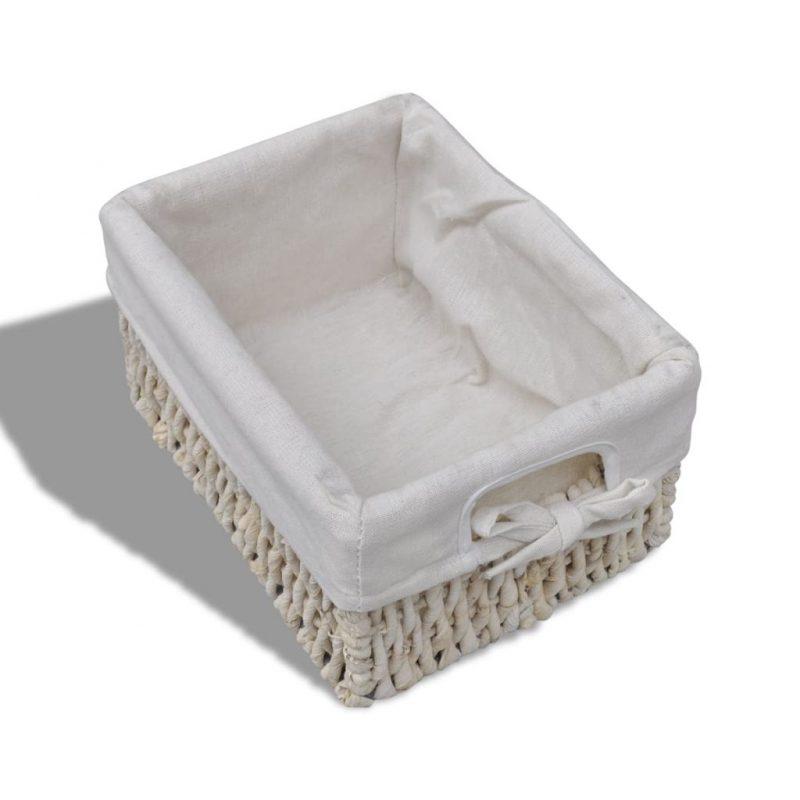 Predalnik s 3 pletenimi košarami les bele barve
