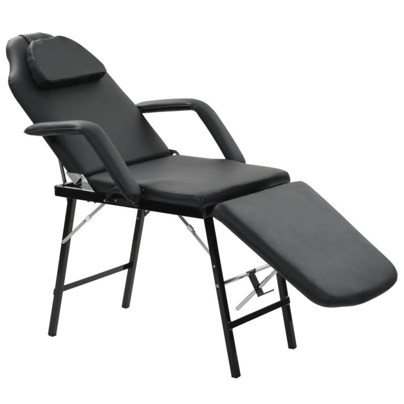 Prenosni kozmetični stol iz umetnega usnja 185x78x76 cm črn