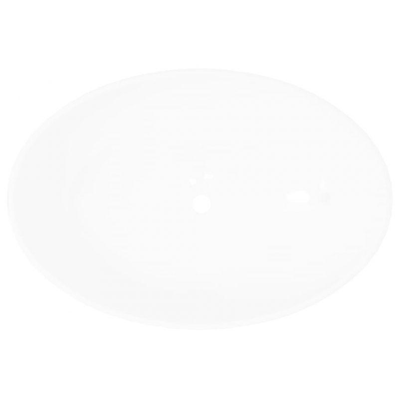 Razkošni keramični umivalnik ovalne oblike bel 40x33 cm