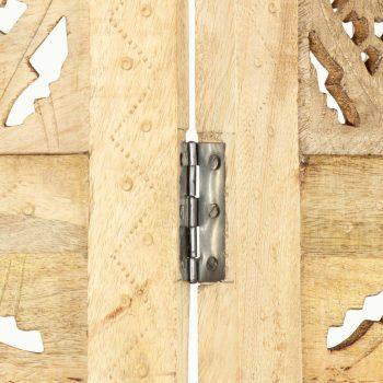Ročno izrezljan paravan 4-delni 160x165 cm trden mangov les
