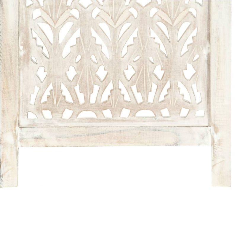Ročno izrezljan paravan 5-delni bel 200x165 cm trden mangov les
