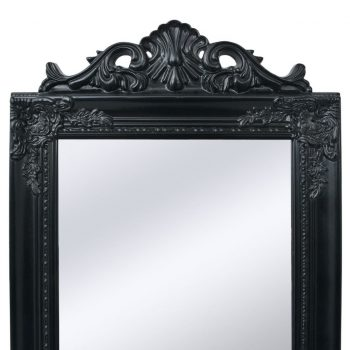 Samostoječe Ogledalo Baročni Stil 160x40 cm Črne Barve