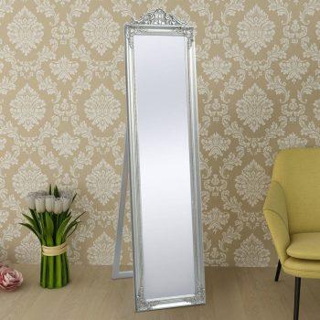 Samostoječe Ogledalo Baročni Stil 160x40 cm Srebrne Barve