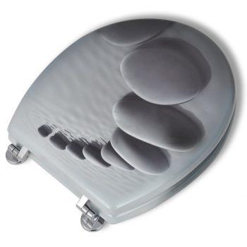 Sedeži za WC školjko s hitrim zapiranjem 2 kosa MDF kamni