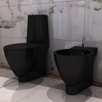 Set Črna Keramična WC Školjka in Bide
