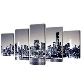 Set platen s printom črnobel New York ponoči 100 x 50 cm