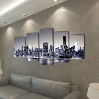 Set platen s printom črnobel New York ponoči 200 x 100 cm