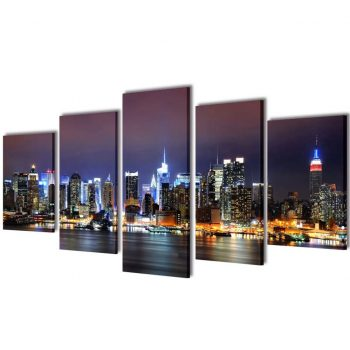 Set platen s printom New York ponoči 100 x 50 cm
