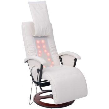 Shiatsu masažni stol belo umetno usnje