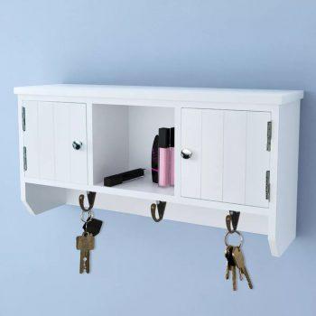 Stenska omarica za ključe in nakit z vrati in kljukami