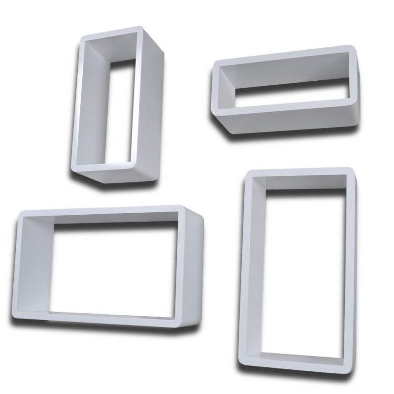 Stenski Regal Kocke Set 4 kosov Bele barve
