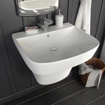 Stenski umivalnik iz keramike bel 500x450x410 mm