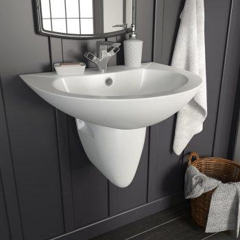 Stenski umivalnik iz keramike bel 520x450x190 mm