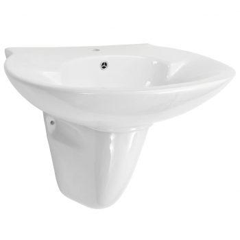 Stenski umivalnik iz keramike bel 690x520x210 mm