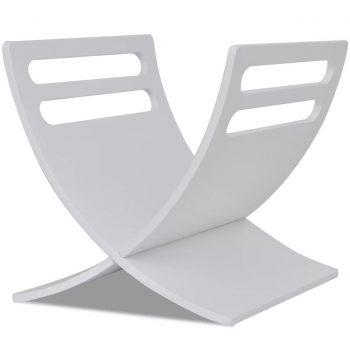 Stoječe stojalo za revije iz lesa bele barve