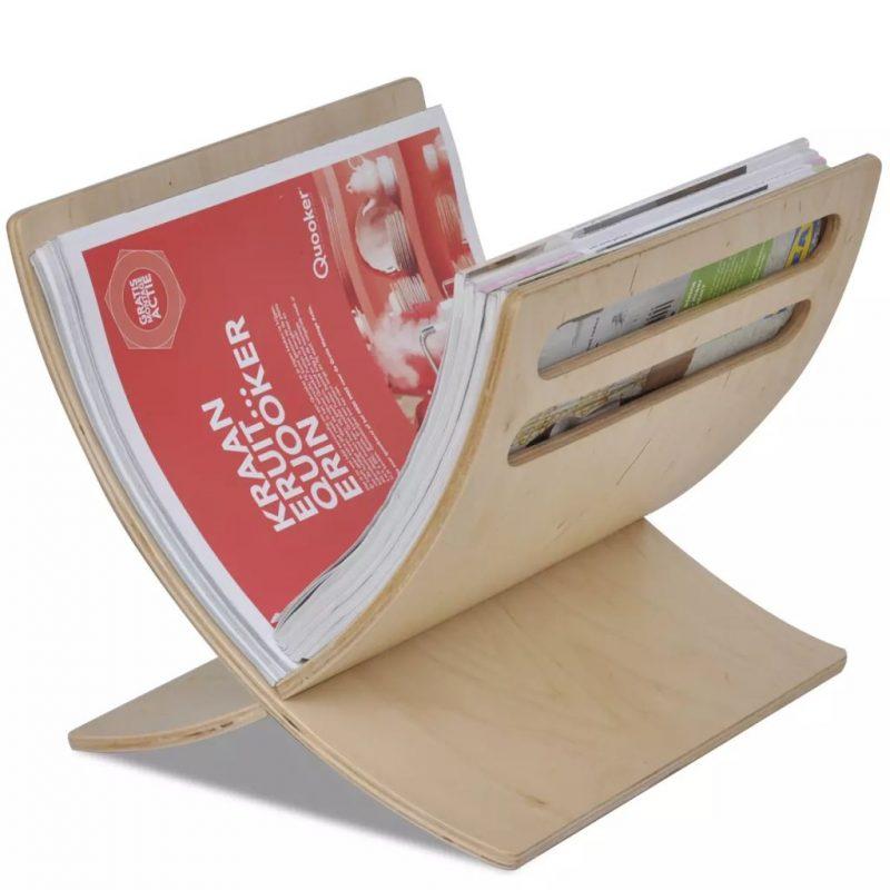 Stoječe stojalo za revije iz lesa naravne barve