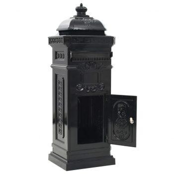 Stoječi poštni nabiralnik aluminij starinski stil črne barve