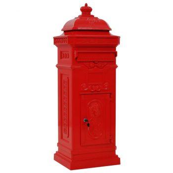 Stoječi poštni nabiralnik aluminij starinski stil rdeče barve