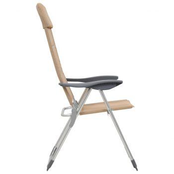 Stoli za kampiranje 2 kosa kremne barve aluminij 58x69x111 cm