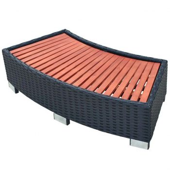Stopnica za masažni bazen poli ratan 92x45x25 cm črna