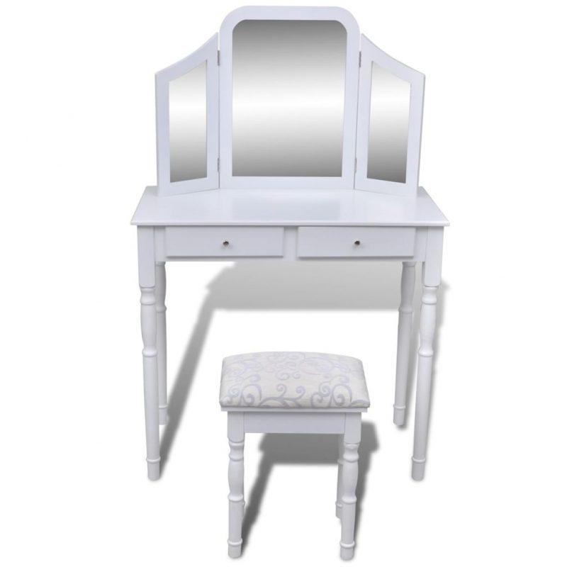 Toaletna miza s 3 v 1 ogledalom in stolčkom 2 predala bela