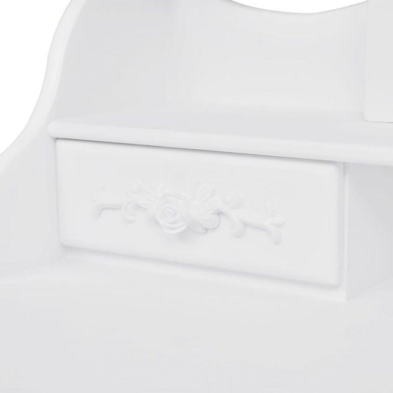 Toaletna miza s stolčkom in 3 ogledali bele barve