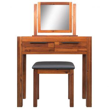 Toaletna miza s stolčkom in ogledalom trden akacijev les
