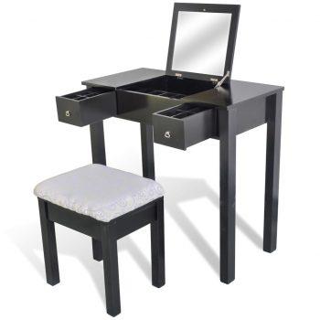 Toaletna miza s stolčkom in zložljivim ogledalom črne barve