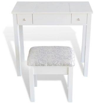 Toaletna miza s stolčkom in zložljivim ogledalom bele barve