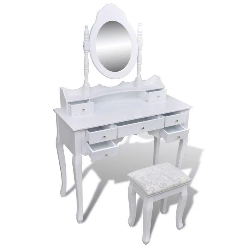 Toaletna miza z ogledalom in stolčkom 7 predalov bela