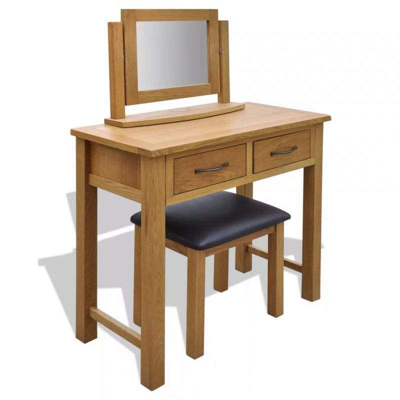 Toaletna mizica s stolčkom trdna hrastovina