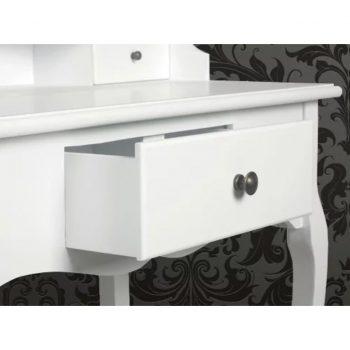 Toaletna mizica z ogledalom in stolčkom bele barve