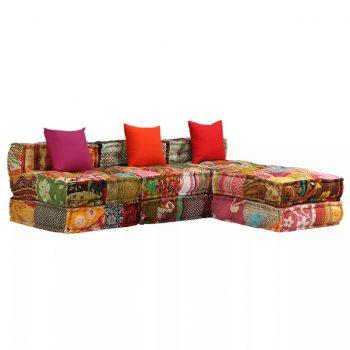 Trosed modularni kavč z ležičem večbarvni