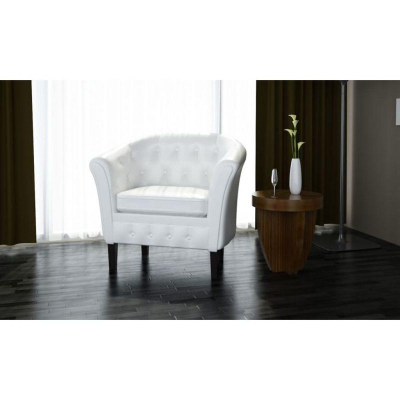 Tubast stol iz belega umetnega usnja
