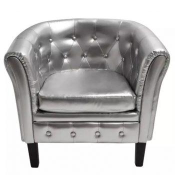Tubast stol iz srebrnega umetnega usnja