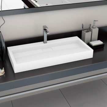 Umivalnik 100x46x11 cm mineralna litina/marmorna litina bel