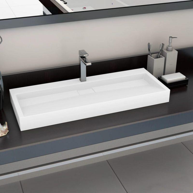 Umivalnik 120x46x11 cm mineralna litina/marmorna litina bel