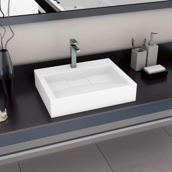Umivalnik 60x38x11 cm liti mineral/ liti marmor bel