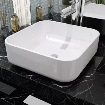 Umivalnik Kvadratni Bela Keramika 38x38x13