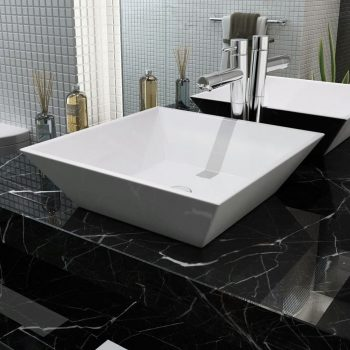 Umivalnik Kvadratni Keramika Bele Barve 41